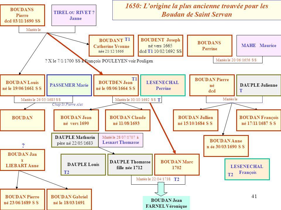 16/01/2014 A découvrir : Les origines primitives des Boudan de Saint Servan juin 2001