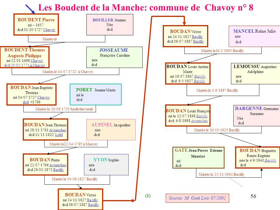 55 RECHERCHES A EFFECTUER AUX ARCHIVES DEPARTEMENTALES A ST LO Mariés le Mariés le 15/02/1870 Les Chambres BOUDENT Joseph Auguste Philippe né 01/05/18