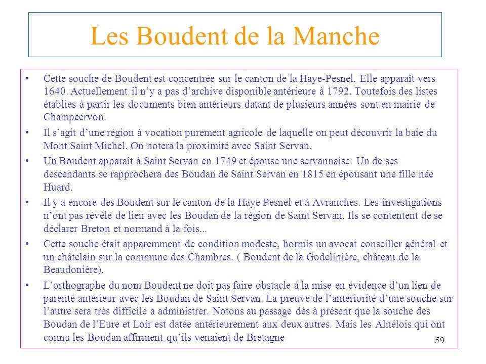 58 A RECHERCHER: LES ORIGINES ANCIENNES DES BOUDENT DE NORMANDIE De BOUDAN à BOUDENT BOUDAN Point d histoire: La seigneurie de Servon en Bretagne disp