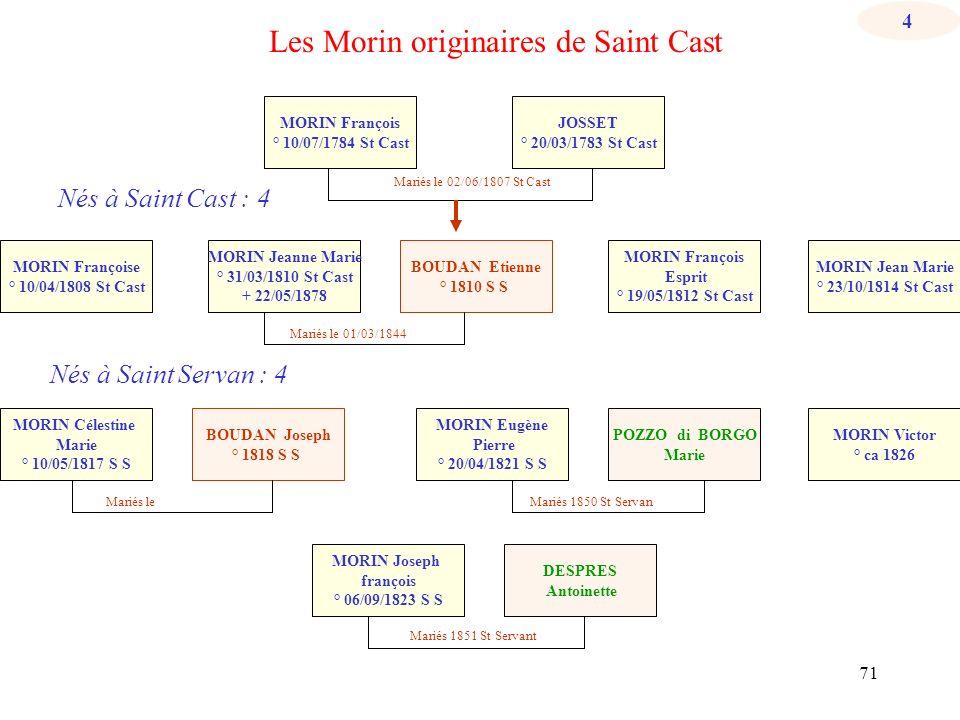 70 Les Morin de Matignon et Saint Cast Mariés le 26/02/1851 St Servan Mariés le 02/06/1807 JOSSET Vincent né en 1743 MORIN François né vers 1752 Matig
