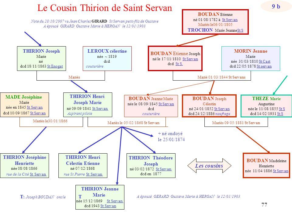 76 Marié 01/03/1844 St Servans T: Joseph BOUDAN oncle MADE Joséphine Marie née en 1845 St Servan dcd 10/09/1867 St Servan Mariés Mariés le 05/02/1868