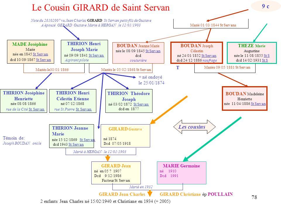 77 Marié 01/03/1844 St Servans T: Joseph BOUDAN oncle MADE Joséphine Marie née en 1845 St Servan dcd 10/09/1867 St Servan Mariés Mariés le 05/02/1868