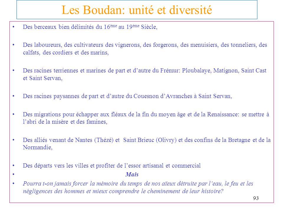 16/01/2014 Une énigme non résolue : Les BOUDAN sont ils Bretons ou Normands ? juin 2001 Conclusion