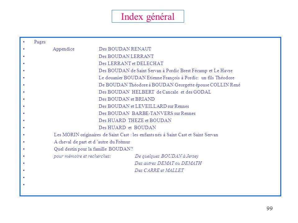 98 Index général Pages Titres: La généalogie des Boudan 2 Présentation Pour (tout) comprendre : tableau synoptique des branches principales Titre I Gé