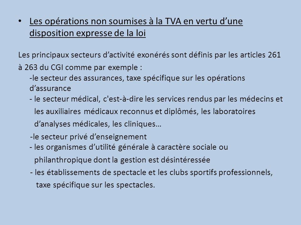Les opérations non soumises à la TVA en vertu dune disposition expresse de la loi Les principaux secteurs dactivité exonérés sont définis par les arti