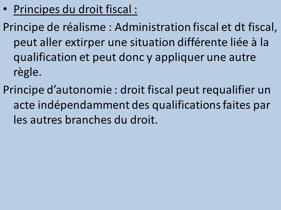 Principes du droit fiscal : Principe de réalisme : Administration fiscal et dt fiscal, peut aller extirper une situation différente liée à la qualific