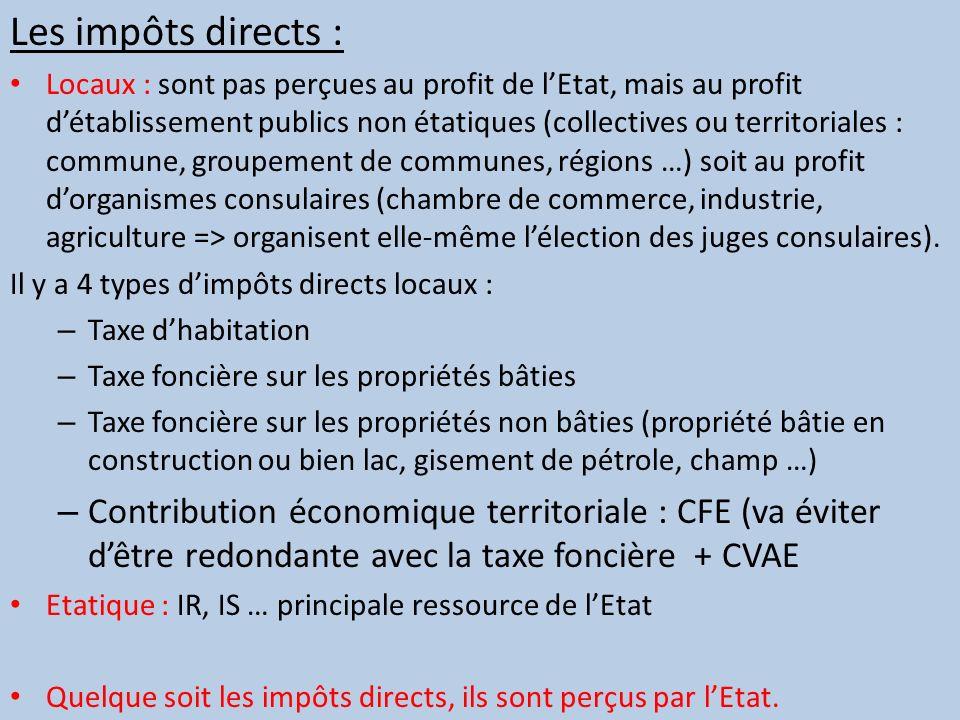 Les impôts directs : Locaux : sont pas perçues au profit de lEtat, mais au profit détablissement publics non étatiques (collectives ou territoriales :