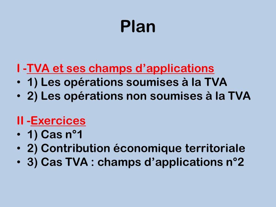Plan I -TVA et ses champs dapplications 1) Les opérations soumises à la TVA 2) Les opérations non soumises à la TVA II -Exercices 1) Cas n°1 2) Contri