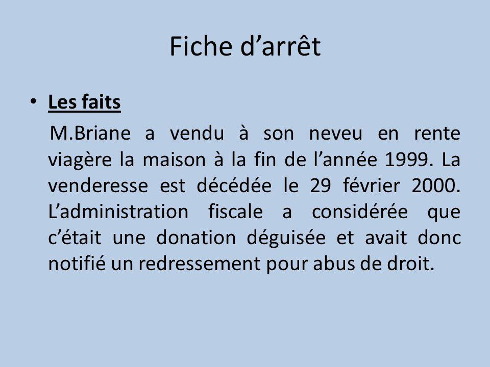 Fiche darrêt Les faits M.Briane a vendu à son neveu en rente viagère la maison à la fin de lannée 1999. La venderesse est décédée le 29 février 2000.