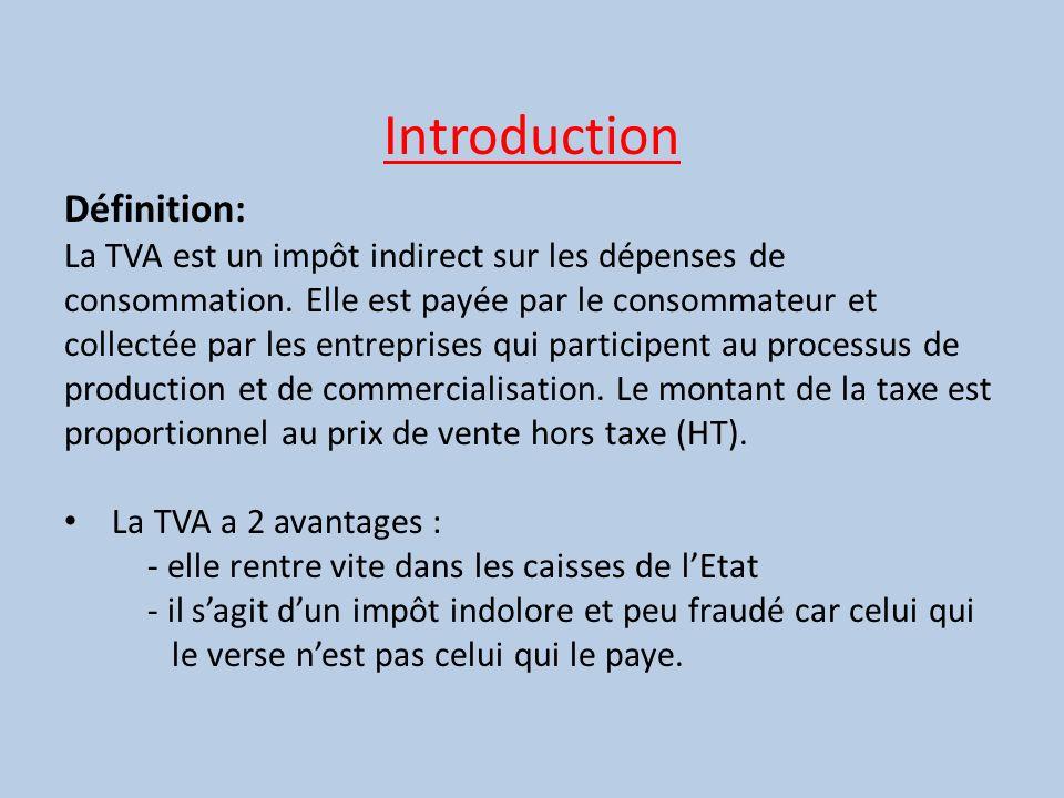 Introduction Définition: La TVA est un impôt indirect sur les dépenses de consommation. Elle est payée par le consommateur et collectée par les entrep