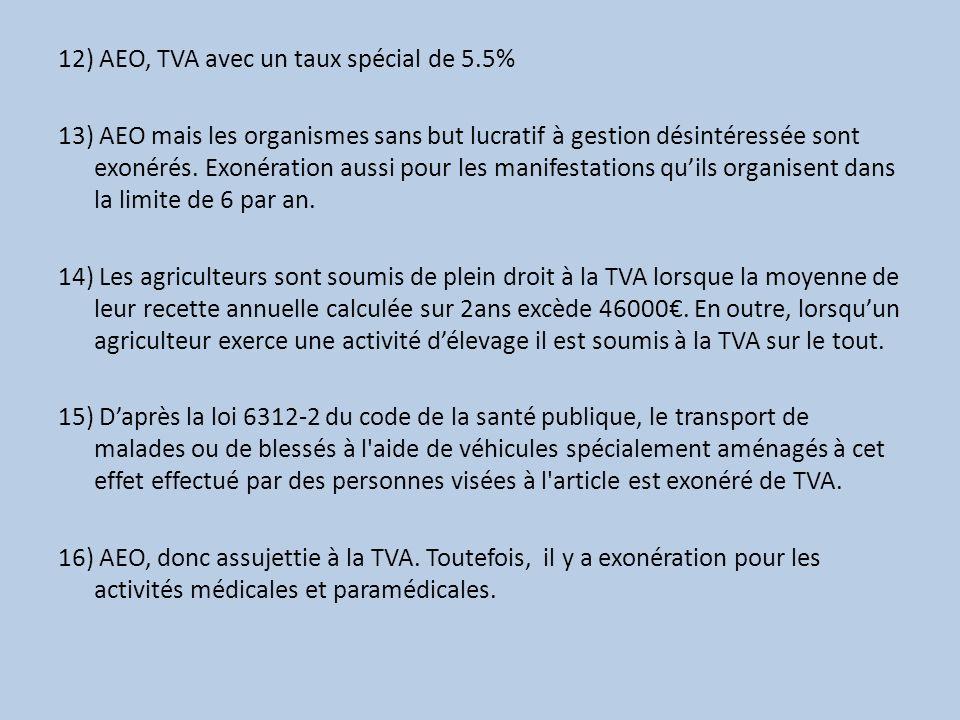 12) AEO, TVA avec un taux spécial de 5.5% 13) AEO mais les organismes sans but lucratif à gestion désintéressée sont exonérés. Exonération aussi pour