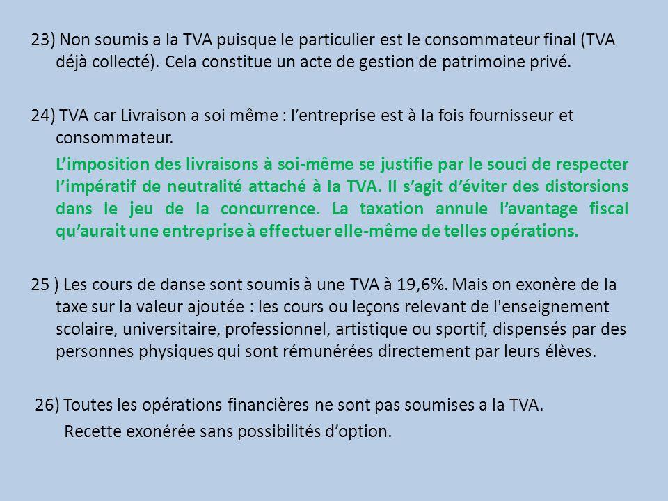 23) Non soumis a la TVA puisque le particulier est le consommateur final (TVA déjà collecté). Cela constitue un acte de gestion de patrimoine privé. 2