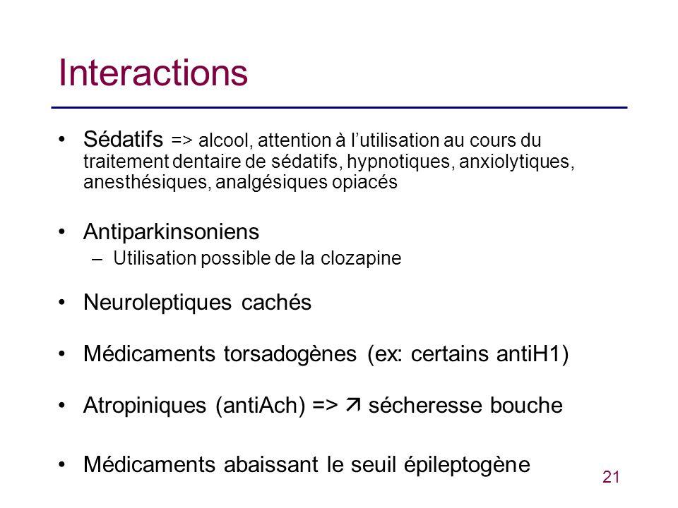 21 Interactions Sédatifs => alcool, attention à lutilisation au cours du traitement dentaire de sédatifs, hypnotiques, anxiolytiques, anesthésiques, a