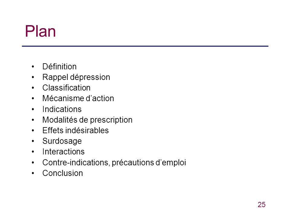 25 Plan Définition Rappel dépression Classification Mécanisme daction Indications Modalités de prescription Effets indésirables Surdosage Interactions