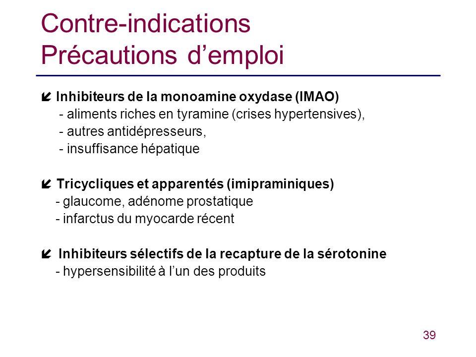 39 Contre-indications Précautions demploi Inhibiteurs de la monoamine oxydase (IMAO) - aliments riches en tyramine (crises hypertensives), - autres an