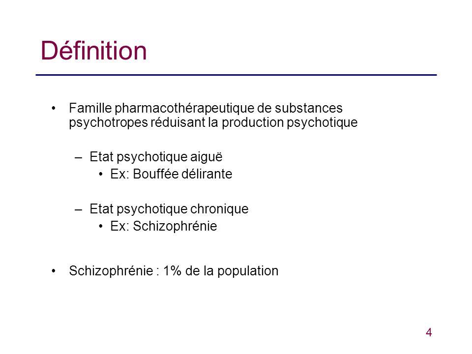 4 Définition Famille pharmacothérapeutique de substances psychotropes réduisant la production psychotique –Etat psychotique aiguë Ex: Bouffée délirant