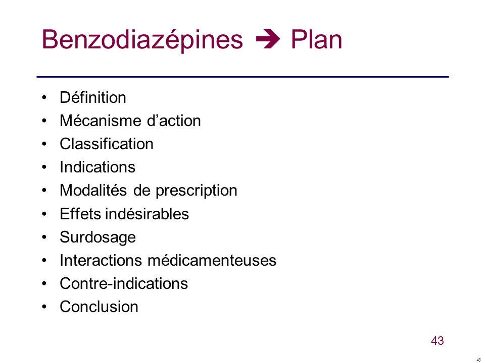 43 Benzodiazépines Plan Définition Mécanisme daction Classification Indications Modalités de prescription Effets indésirables Surdosage Interactions m