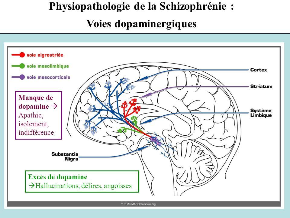 6 Classification chimique (1) NL1G: Neuroleptiques de première génération = antipsychotiques conventionnels –Phénothiazines : chlorpromazine LARGACTIL (1952 ) –Butyrophénones : halopéridol HALDOL –Benzamides : amisulpride SOLIAN –Thioxanthènes : flupenthixol FLUANXOL NL2G: Neuroleptiques de deuxième génération = antipsychotiques atypiques 1990 : –Clozapine LEPONEX –Olanzapine ZYPREXA –Risperidone RISPERDAL, –Aripiprazole ABILIFY,