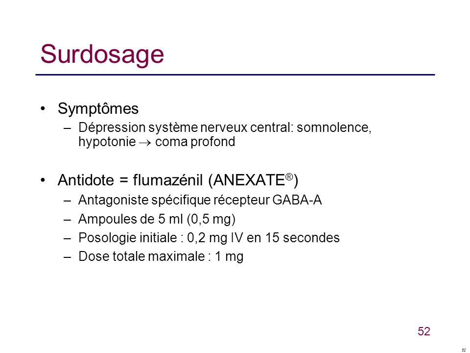 52 Surdosage Symptômes –Dépression système nerveux central: somnolence, hypotonie coma profond Antidote = flumazénil (ANEXATE ® ) –Antagoniste spécifi