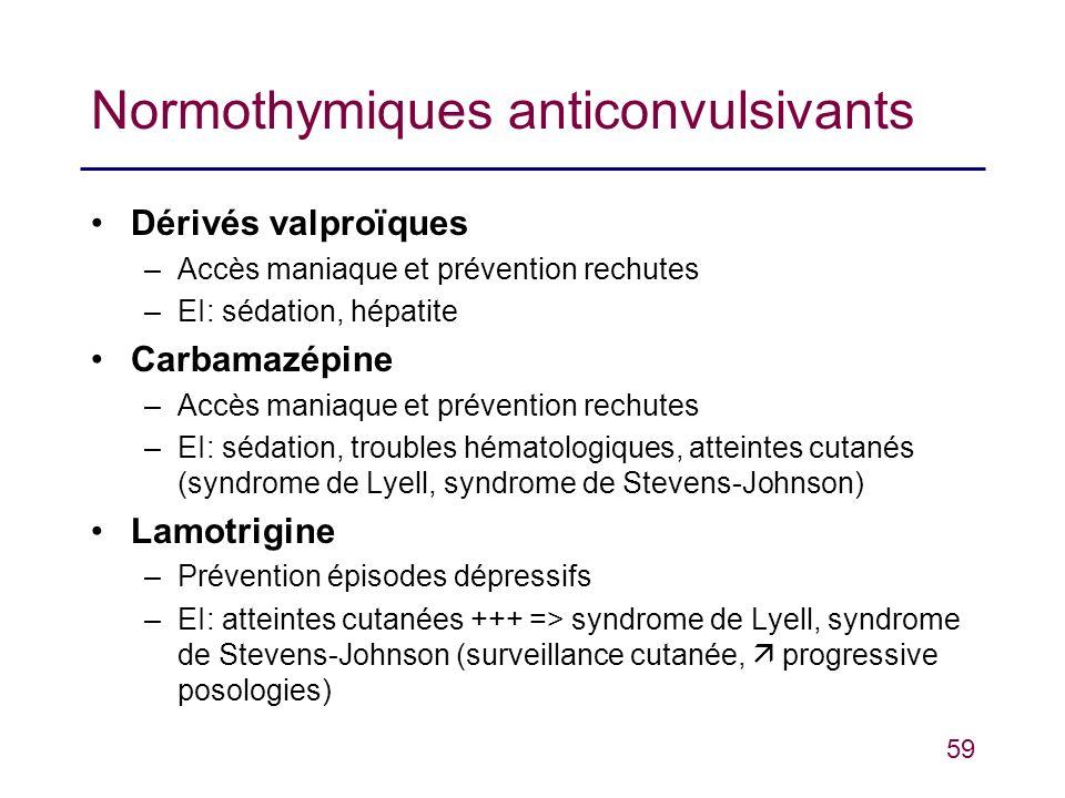 59 Normothymiques anticonvulsivants Dérivés valproïques –Accès maniaque et prévention rechutes –EI: sédation, hépatite Carbamazépine –Accès maniaque e