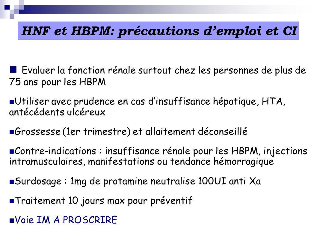 Evaluer la fonction rénale surtout chez les personnes de plus de 75 ans pour les HBPM Utiliser avec prudence en cas dinsuffisance hépatique, HTA, anté