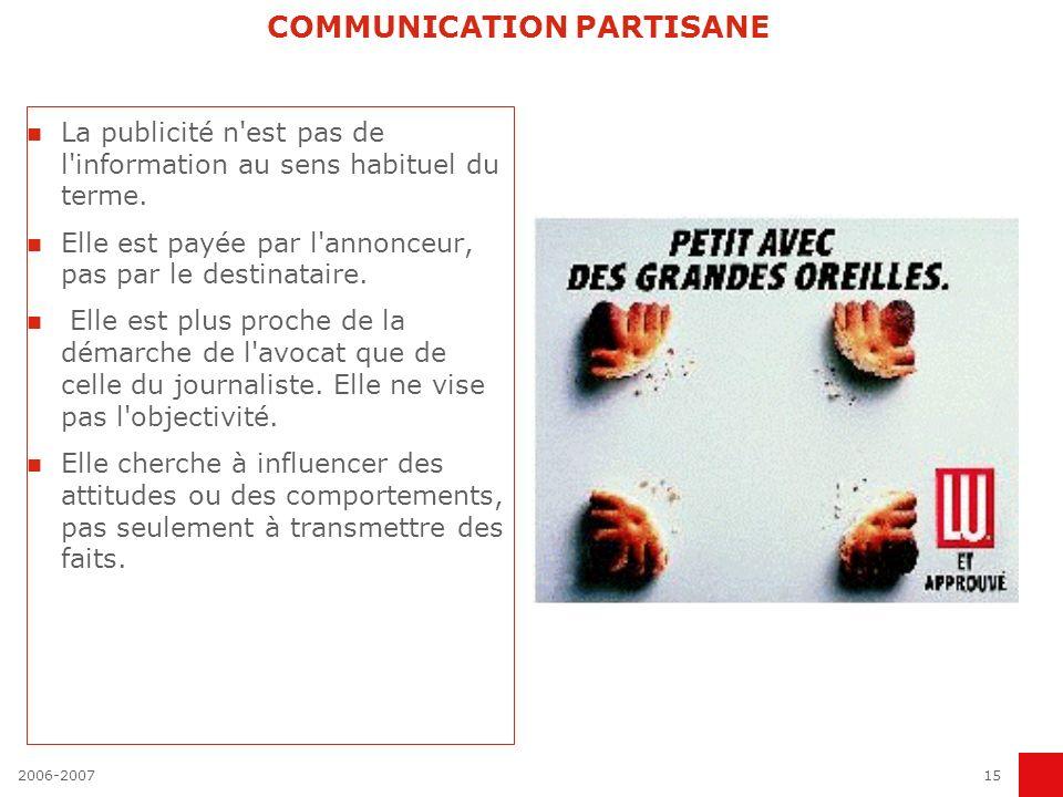 2006-200714 POLITIQUE GLOBALE DE COMMUNICATION COMMUNICATION PRODUIT Les performances du produit COMMUNICATION D ENTREPRISE Les performances économiqu