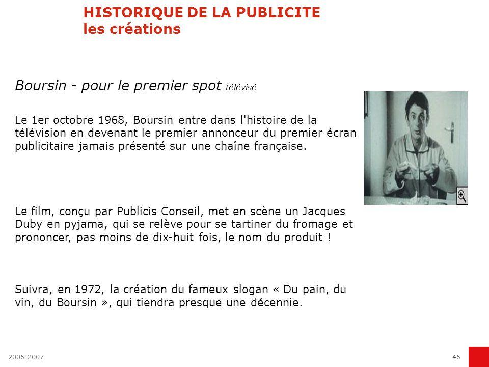 2006-200745 HISTORIQUE DE LA PUBLICITE (3) La crise de 1990 La crise de 2001 1993 Loi Sapin Séguéla « fusionne » avec Eurocom du groupe Havas Fin des