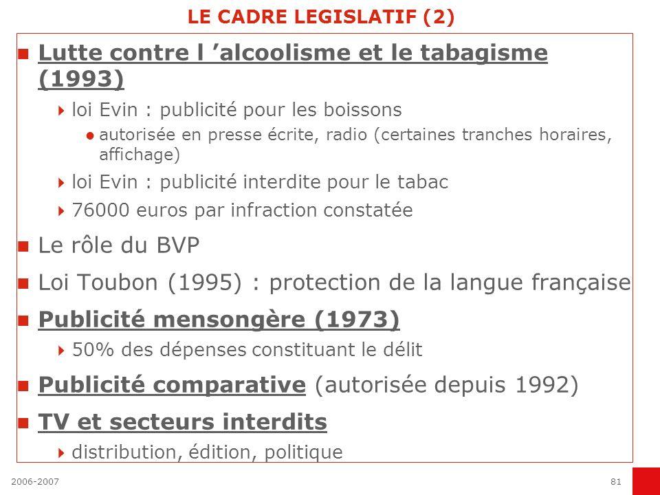 2006-200780 LE CADRE LEGISLATIF (1) En 1993, est promulgué la Loi Sapin, qui assainit les pratiques de négociations (scandales des surfacturations) :