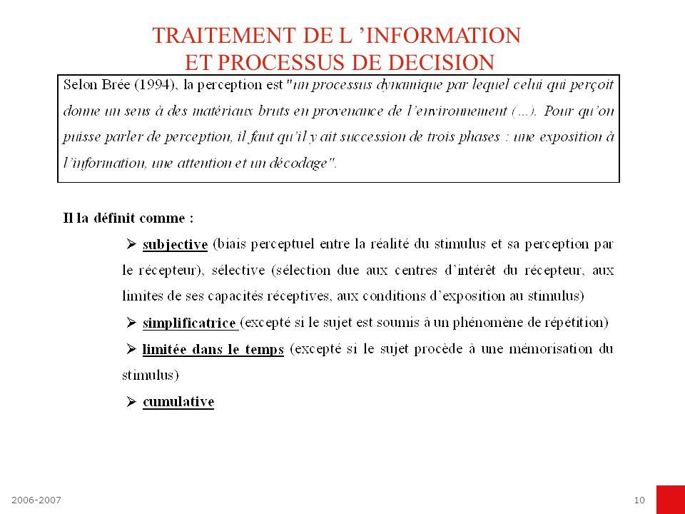 10 TRAITEMENT DE L INFORMATION ET PROCESSUS DE DECISION