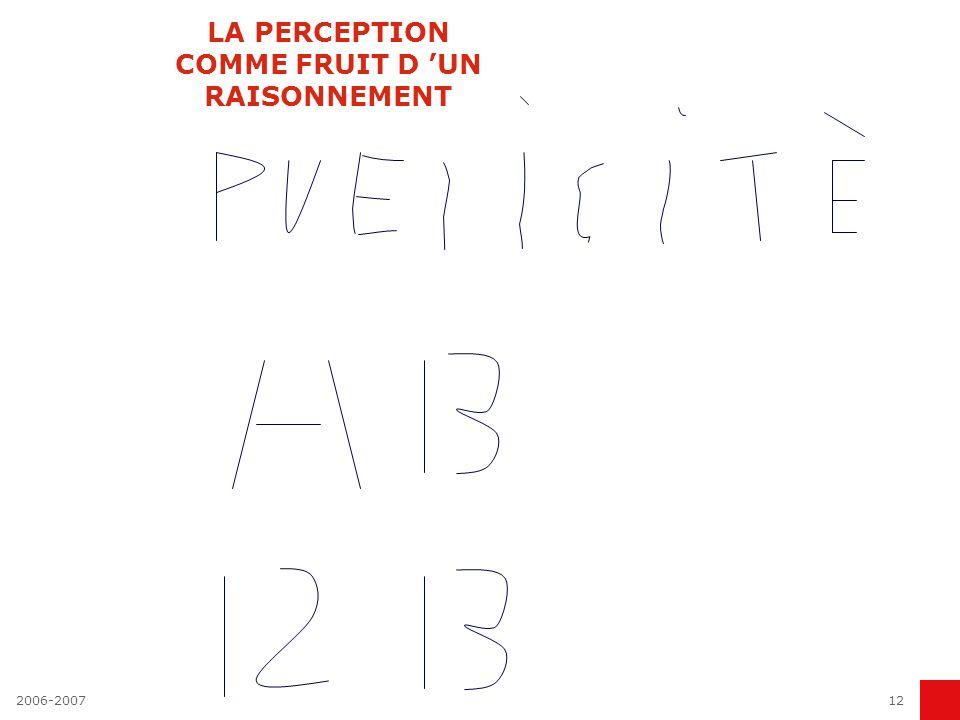2006-200712 LA PERCEPTION COMME FRUIT D UN RAISONNEMENT