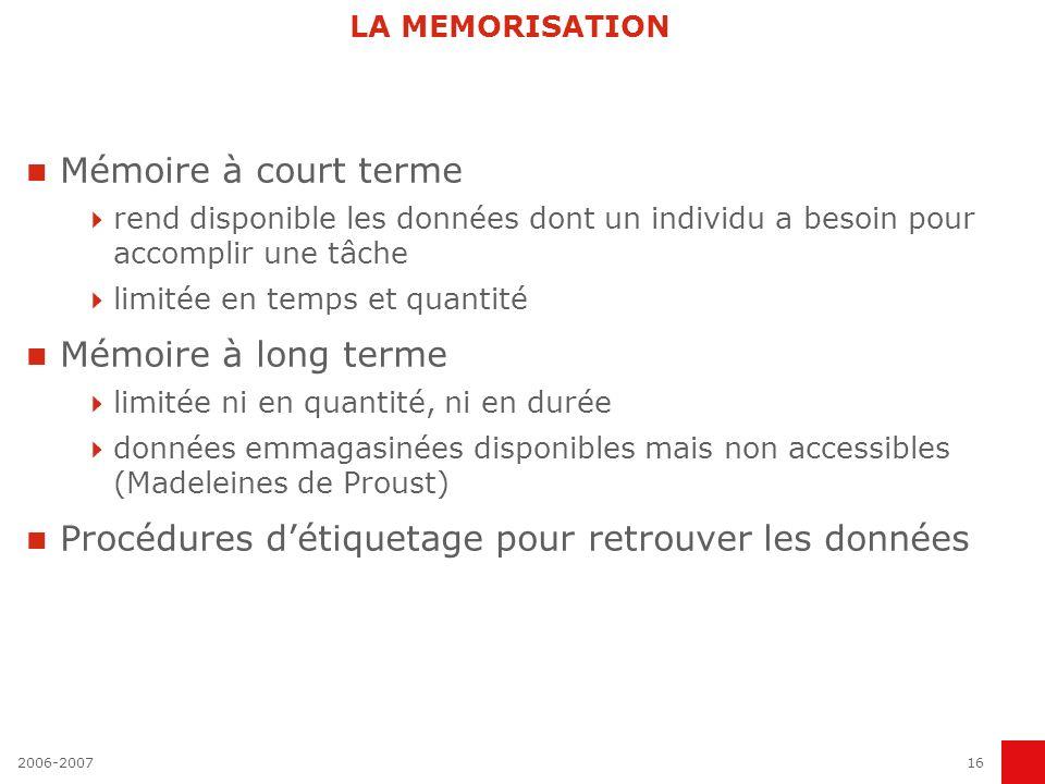 2006-200716 LA MEMORISATION Mémoire à court terme rend disponible les données dont un individu a besoin pour accomplir une tâche limitée en temps et q