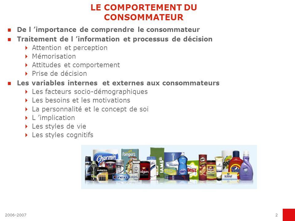 2006-20072 LE COMPORTEMENT DU CONSOMMATEUR De l importance de comprendre le consommateur Traitement de l information et processus de décision Attentio