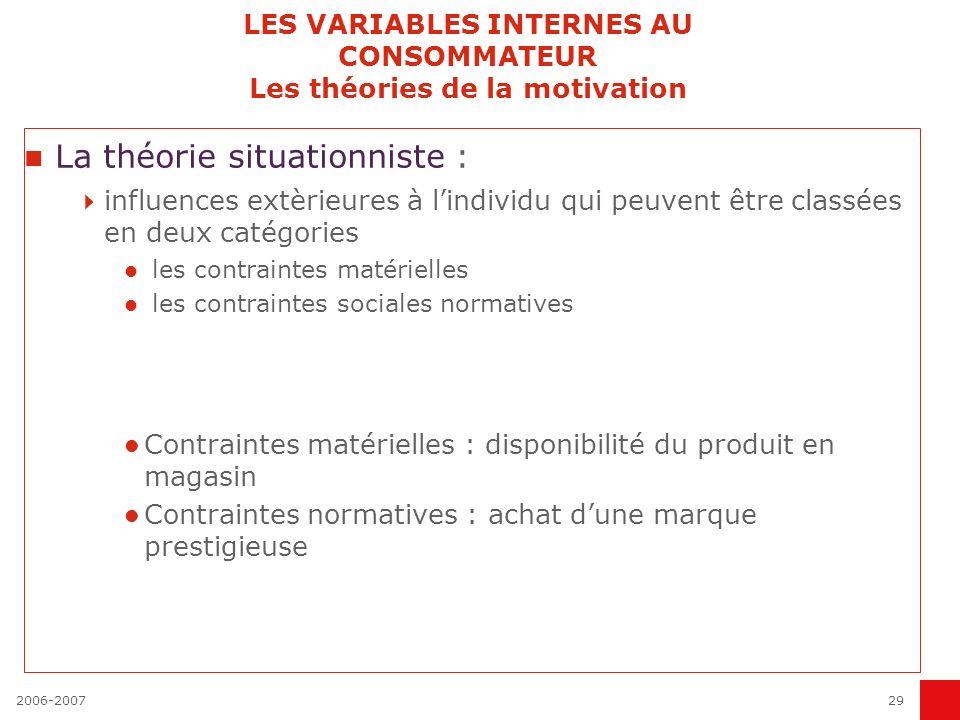 2006-200729 LES VARIABLES INTERNES AU CONSOMMATEUR Les théories de la motivation La théorie situationniste : influences extèrieures à lindividu qui pe