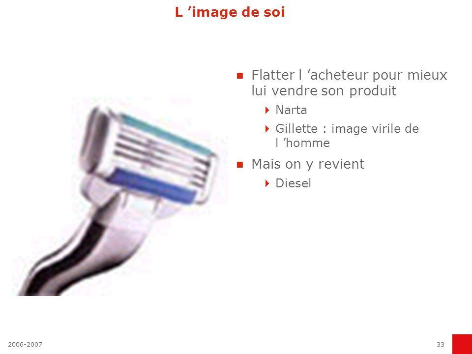 2006-200733 L image de soi Flatter l acheteur pour mieux lui vendre son produit Narta Gillette : image virile de l homme Mais on y revient Diesel