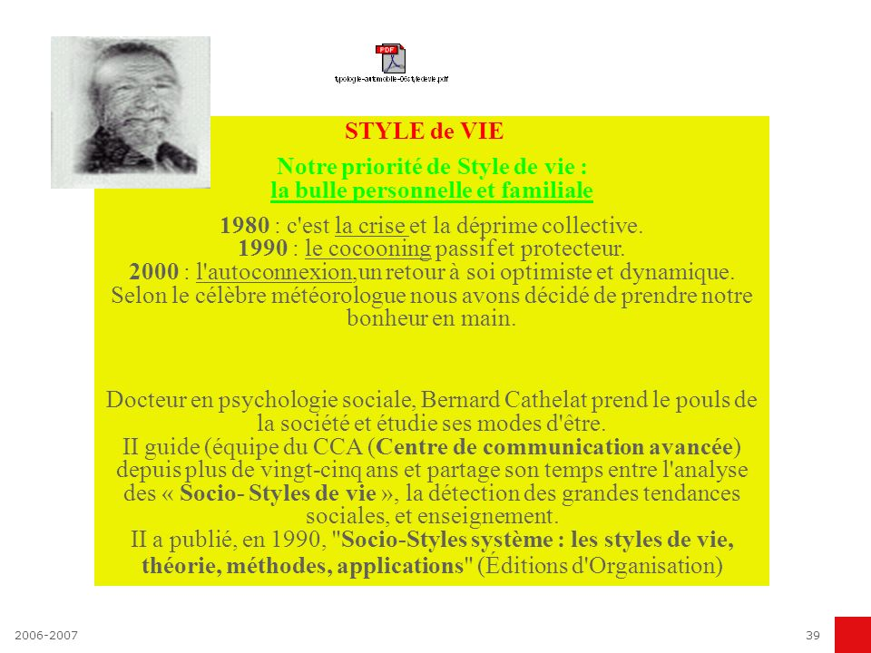 2006-200739 STYLE de VIE Notre priorité de Style de vie : la bulle personnelle et familiale 1980 : c'est la crise et la déprime collective. 1990 : le