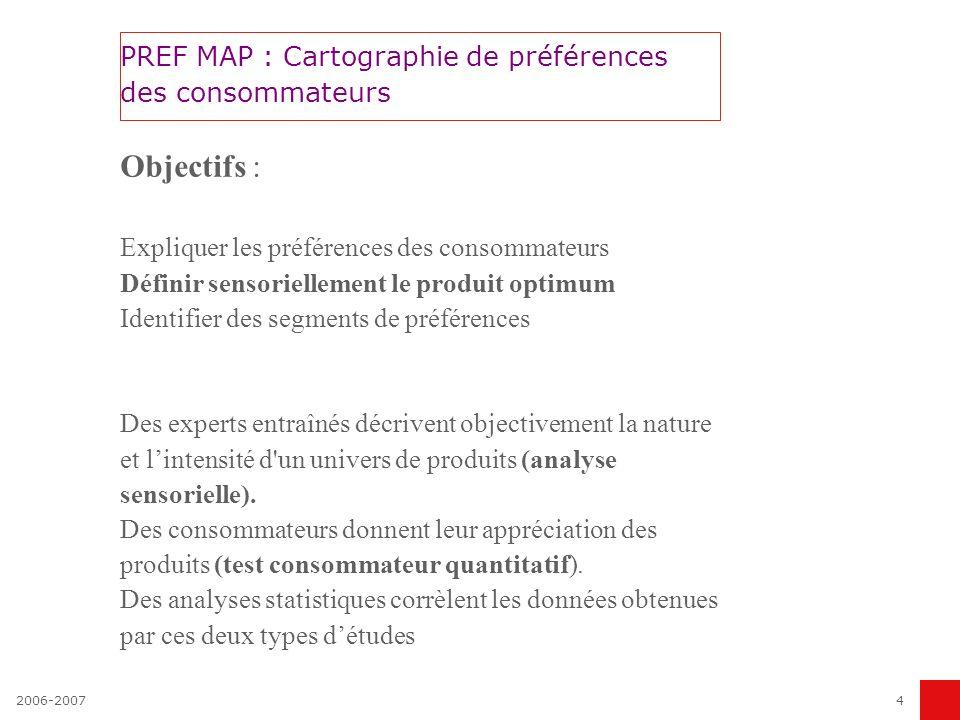 2006-20074 PREF MAP : Cartographie de préférences des consommateurs Objectifs : Expliquer les préférences des consommateurs Définir sensoriellement le