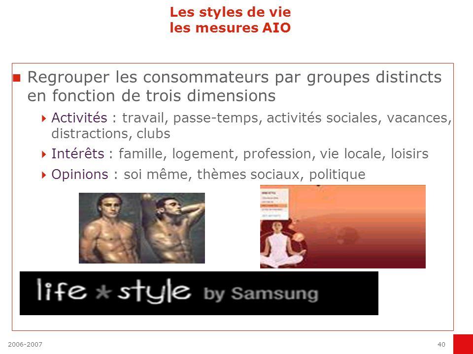 2006-200740 Les styles de vie les mesures AIO Regrouper les consommateurs par groupes distincts en fonction de trois dimensions Activités : travail, p