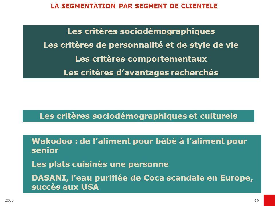 200916 LA SEGMENTATION PAR SEGMENT DE CLIENTELE Les critères sociodémographiques Les critères de personnalité et de style de vie Les critères comporte