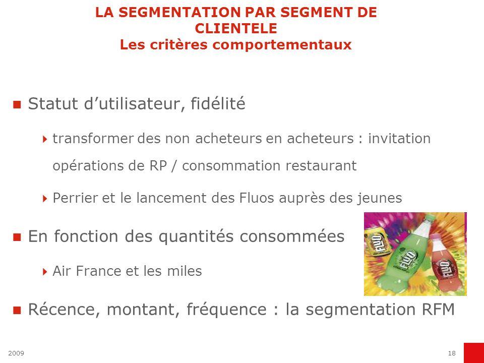 200918 LA SEGMENTATION PAR SEGMENT DE CLIENTELE Les critères comportementaux Statut dutilisateur, fidélité transformer des non acheteurs en acheteurs