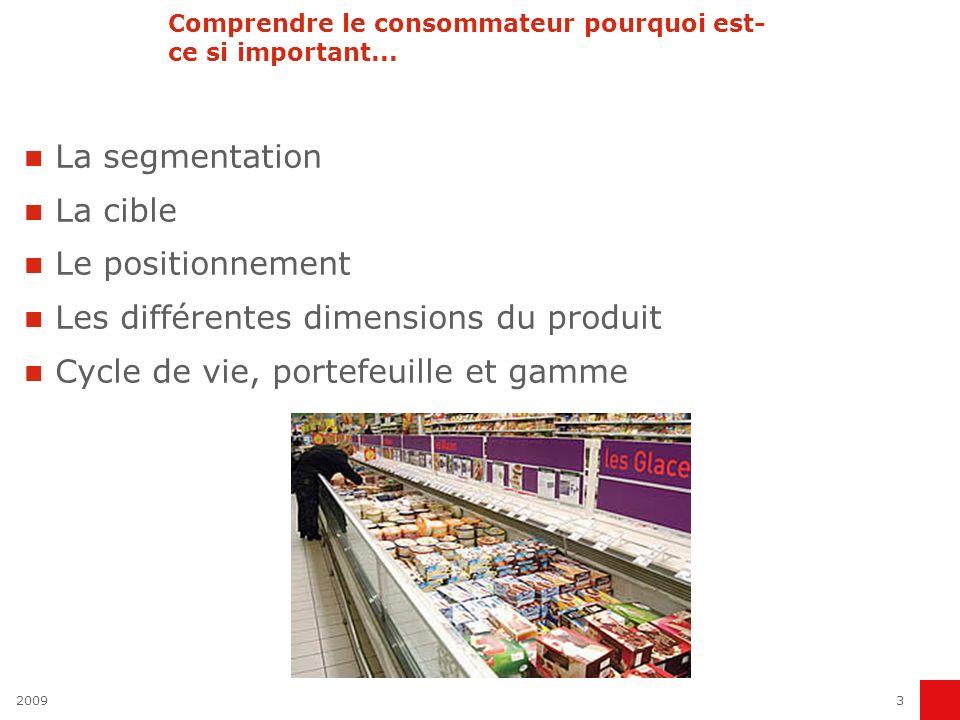 3 Comprendre le consommateur pourquoi est- ce si important... La segmentation La cible Le positionnement Les différentes dimensions du produit Cycle d