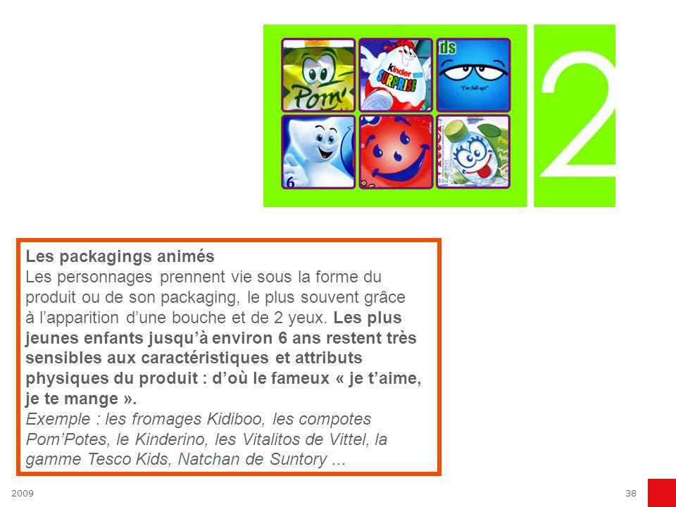 200938 Les packagings animés Les personnages prennent vie sous la forme du produit ou de son packaging, le plus souvent grâce à lapparition dune bouch