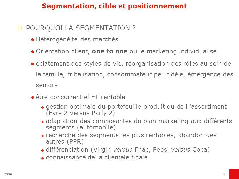 20095 Segmentation, cible et positionnement POURQUOI LA SEGMENTATION ? Hétérogénéité des marchés Orientation client, one to one ou le marketing indivi