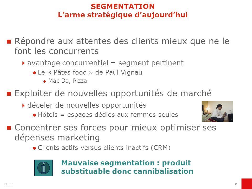 20096 SEGMENTATION Larme stratégique daujourdhui Répondre aux attentes des clients mieux que ne le font les concurrents avantage concurrentiel = segme