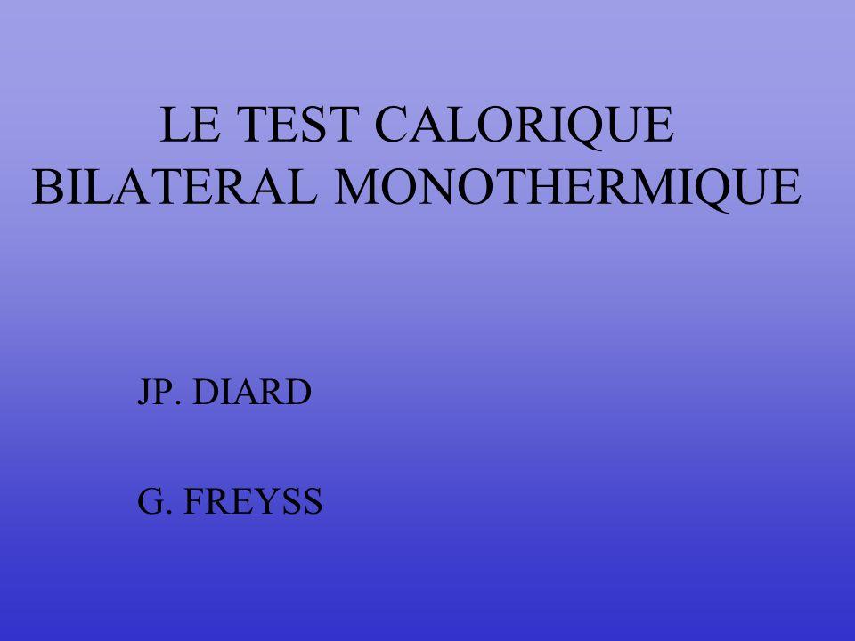 LE TEST CALORIQUE BILATERAL MONOTHERMIQUE JP. DIARD G. FREYSS