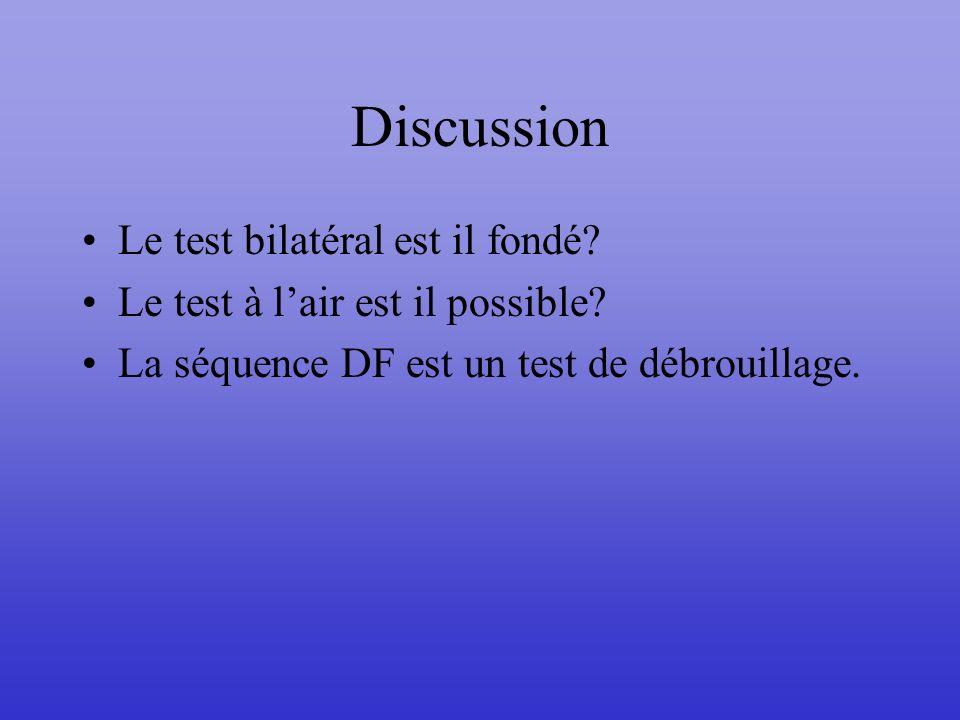 Discussion Le test bilatéral est il fondé? Le test à lair est il possible? La séquence DF est un test de débrouillage.
