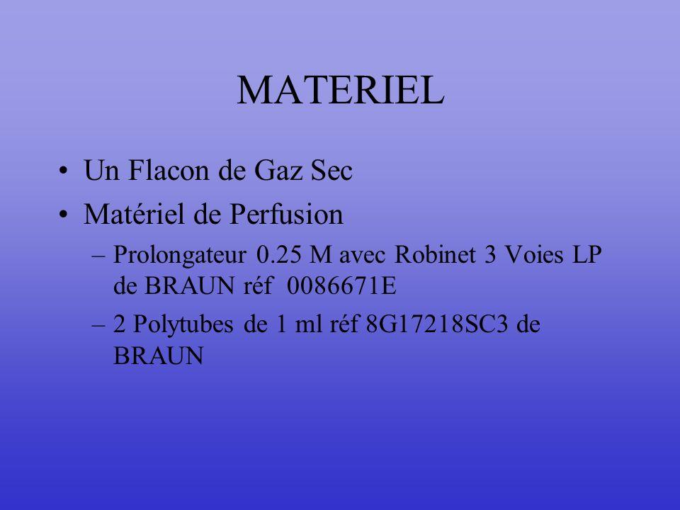 MATERIEL Un Flacon de Gaz Sec Matériel de Perfusion –Prolongateur 0.25 M avec Robinet 3 Voies LP de BRAUN réf 0086671E –2 Polytubes de 1 ml réf 8G1721
