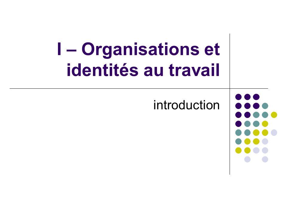 I – Organisations et identités au travail introduction
