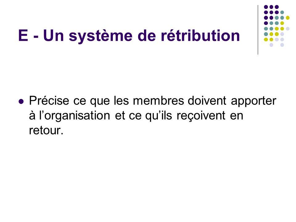 E - Un système de rétribution Précise ce que les membres doivent apporter à lorganisation et ce quils reçoivent en retour.