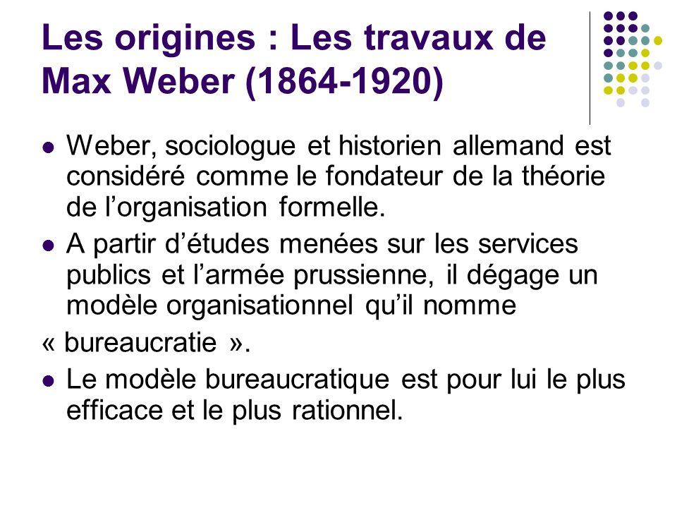 Les origines : Les travaux de Max Weber (1864-1920) Weber, sociologue et historien allemand est considéré comme le fondateur de la théorie de lorganis