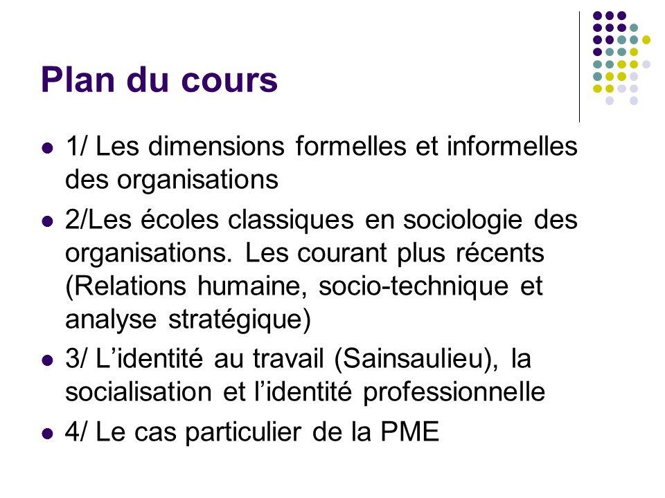 Plan du cours 1/ Les dimensions formelles et informelles des organisations 2/Les écoles classiques en sociologie des organisations. Les courant plus r